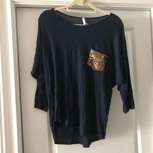 3/4 sleeve navy maternity shirt
